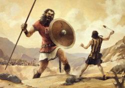 David and Goliath battle