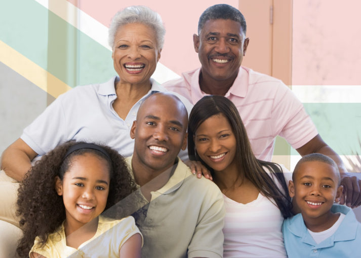 South African Flag with Family