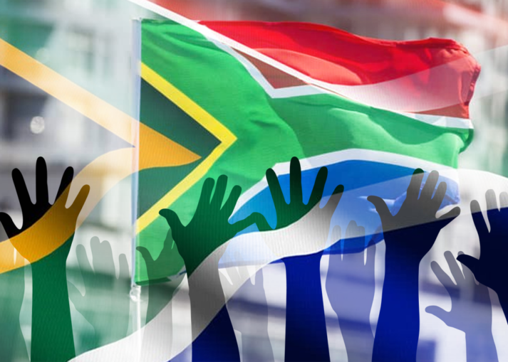 hands and SA flag
